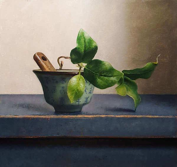 Painting: Stilleven met chinees kommetje