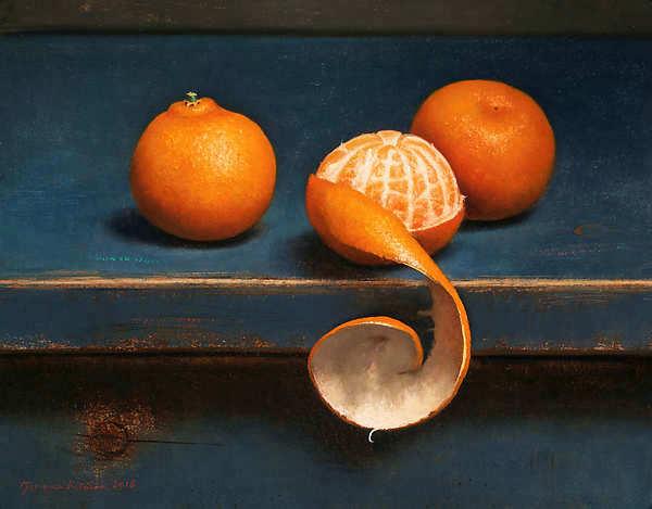 Painting: Stilleven met drie mandarijntjes
