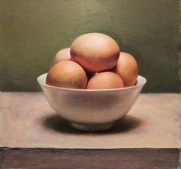 Painting: Stilleventje met eieren