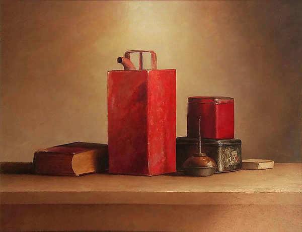 Painting: Stilleven met rode oliekan