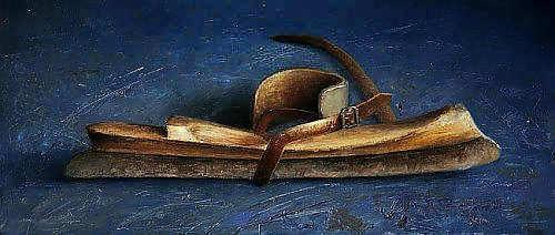 Painting: Stilleven met antieke schaats
