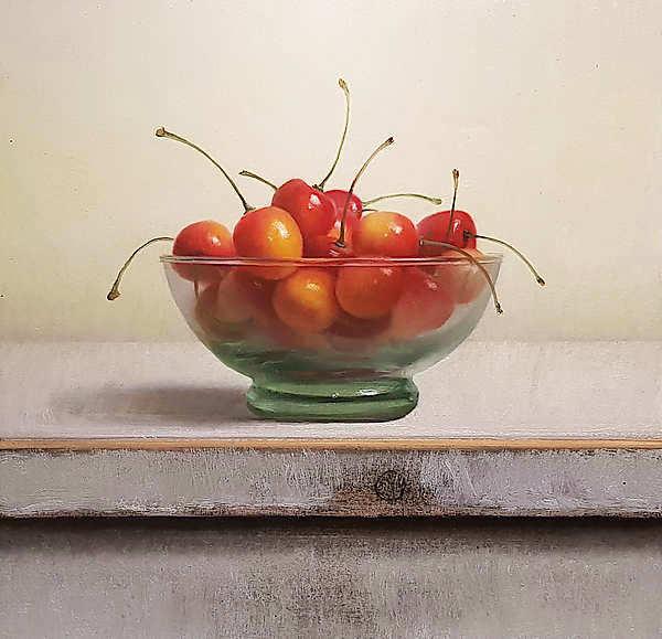 Painting: Stilleven met spekkersen
