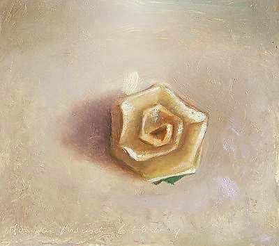 Painting: Stilleven met papieren roosje