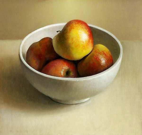 Painting: Stilleven met appelen in kommetje