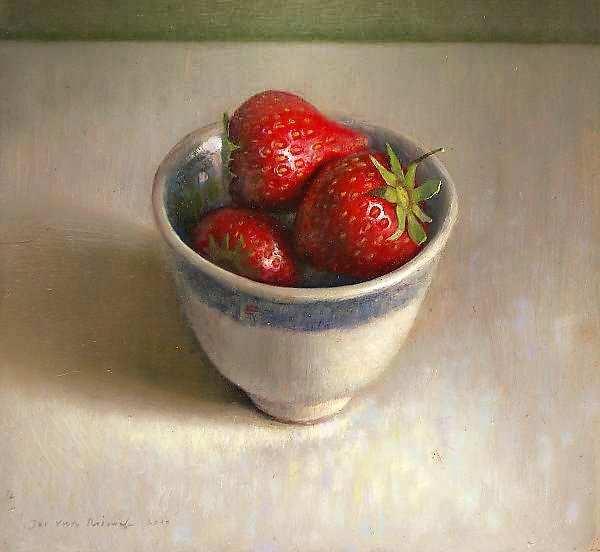 Painting: Stilleven met kommetje & aardbeien