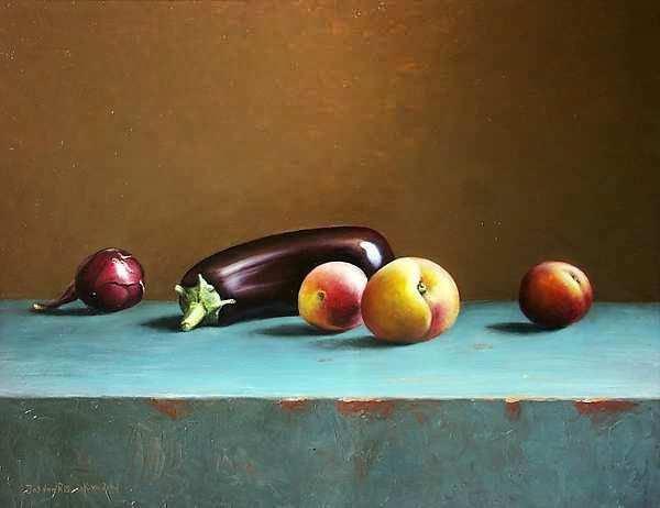 Painting: Stilleven met aubergine