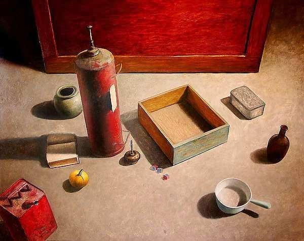 Painting: Stilleven met brandblusser