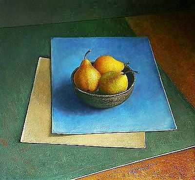 Painting: Stilleven met kommetje peren