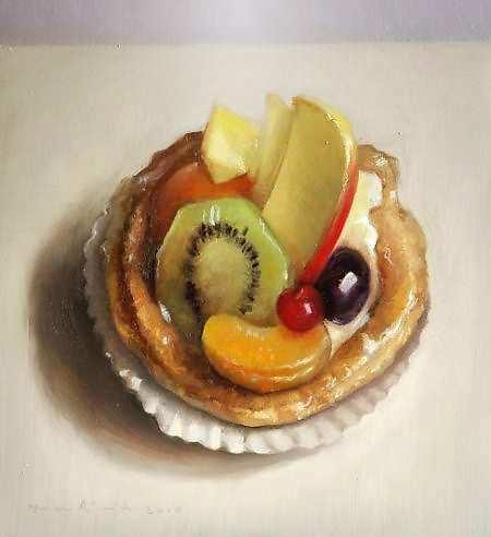 Painting: Stilleven met vruchtentaartje