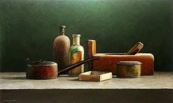 Painting: Stilleven met oliekannetje en schaaf