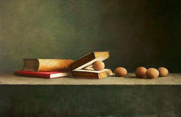 Painting: Stilleven met Open Boek
