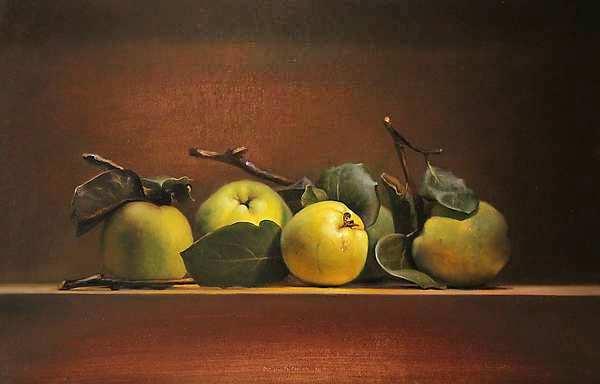 Painting: Stilleven met kweeappels