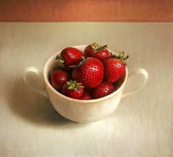 Painting: Stilleven met aardbeien