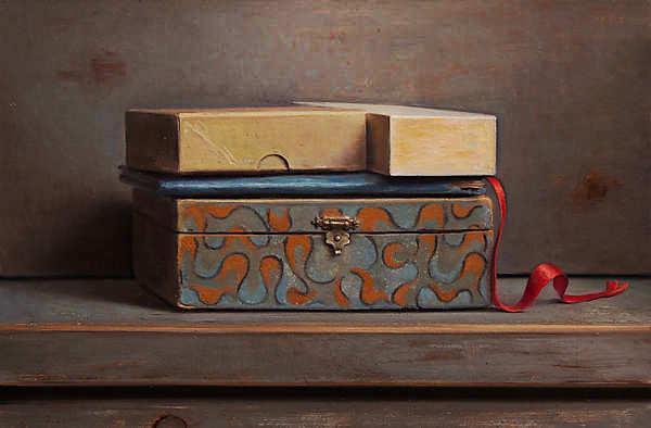 Painting: Stilleven met rood lintje