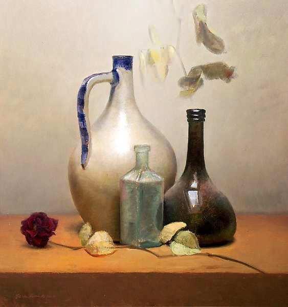 Painting: Stilleven met gedroogde roos