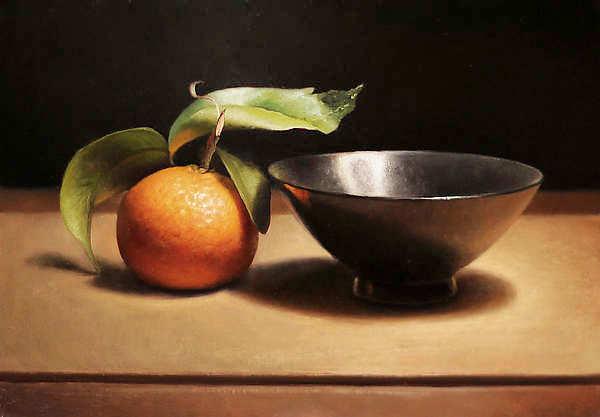 Painting: Stilleven met mandarijntje en zwarte kom