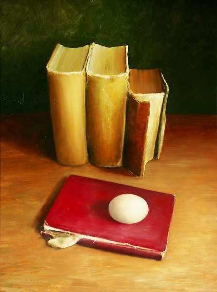 Painting: Stilleven met boeken en ei