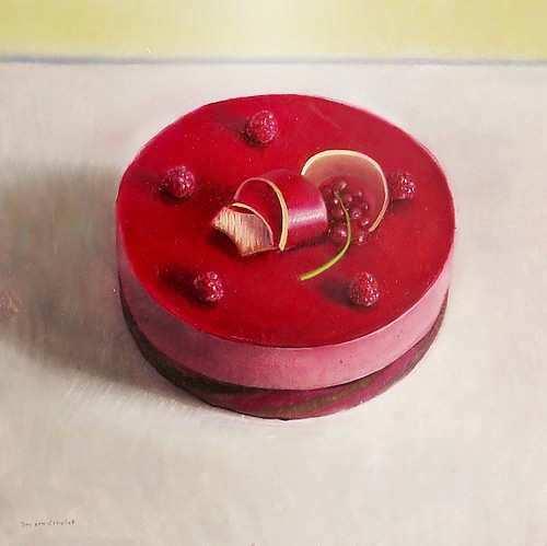 Painting: Stilleven met frambozenbavarois