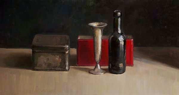 Painting: Stilleven met vaas en rood doosje