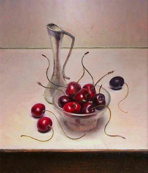 Painting: Stilleven met kersen en vaasje
