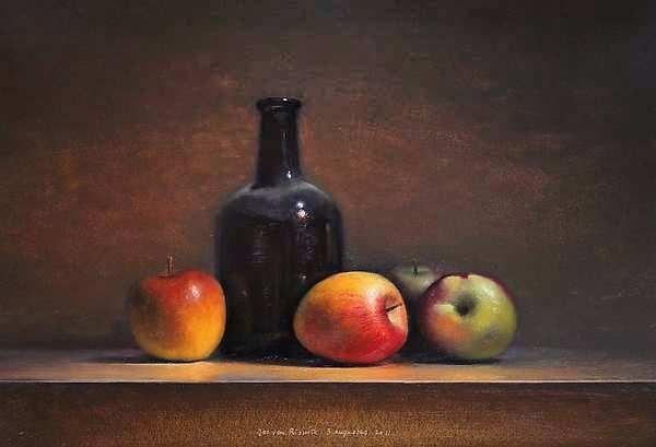 Painting: Stilleven met appels en fles