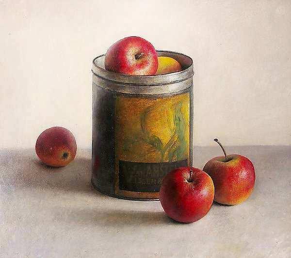 Painting: Stilleven met appelen en vanilleblik