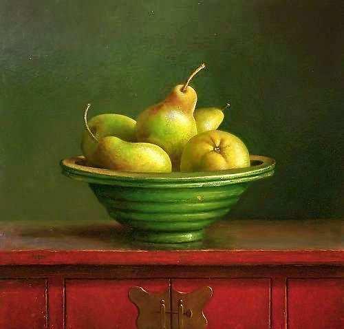Painting: Stilleven met chinees kastje peren