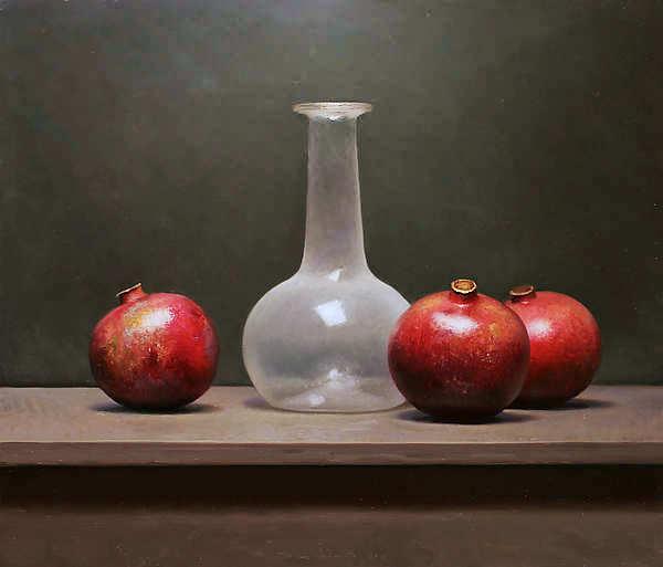 Painting: Stilleven met granaatappels en witte fles