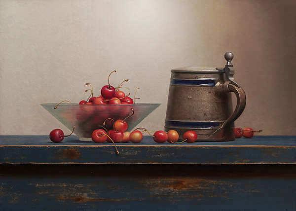 Painting: Stilleven met kersen en bierpul