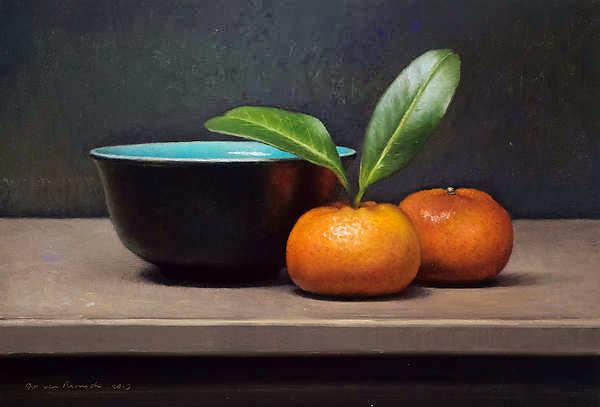 Painting: Stilleven met mandarijnen en zwarte kom