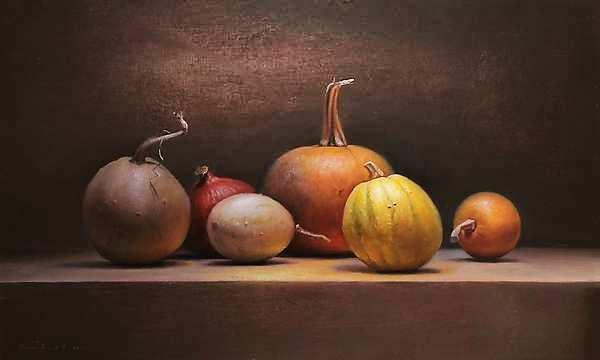 Painting: Stilleven met pompoenen