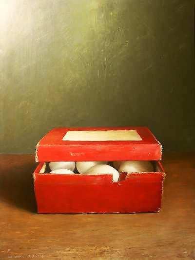Painting: Rood doosje met eieren