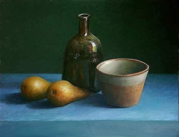 Painting: Stilleven met fles en twee peren