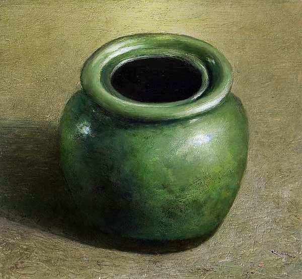 Painting: Stilleven met groen apothekerspotje