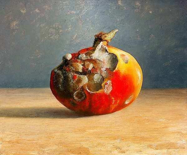 Painting: Stilleven met rotte pompoen