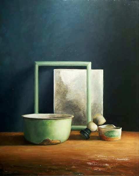 Painting: Stilleven met scheerspiegel