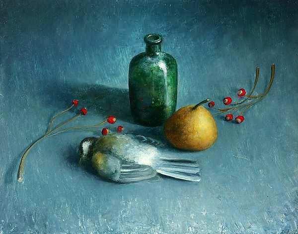 Painting: Stilleven met vogeltje