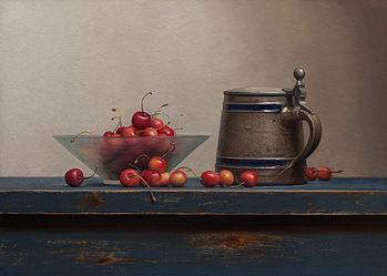 Stilleven met kersen en bierpul, 54x40cm, 2014.