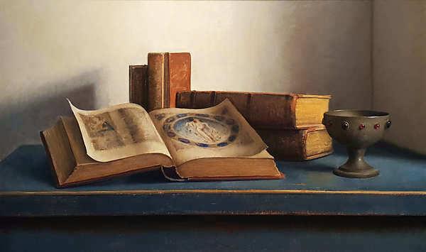 Painting: Stilleven met boeken