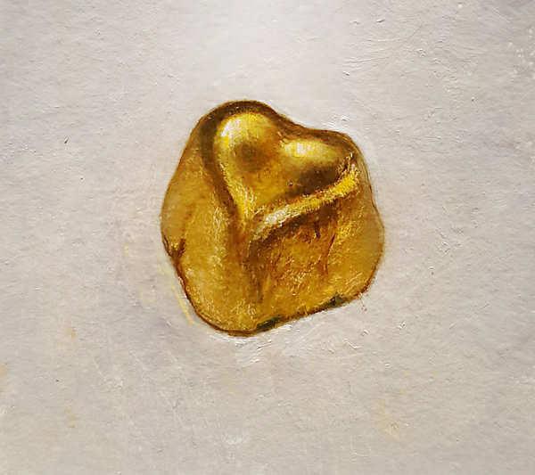 Painting: Stilleven met gouden hart.