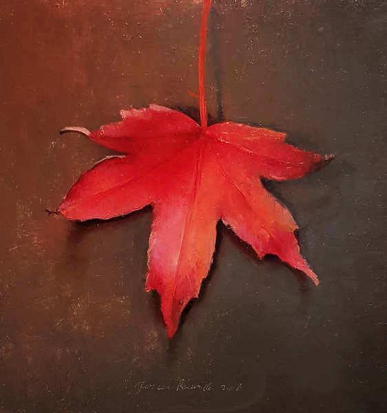 Painting: Stilleven met herfstblaadje