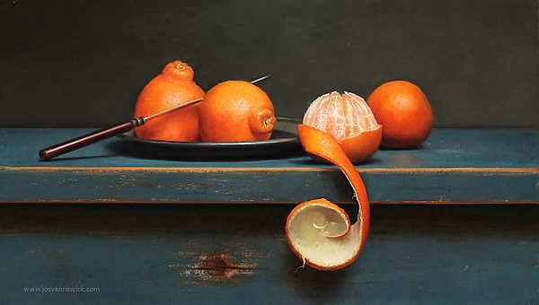Painting: Stilleven met geschilde mandarijn