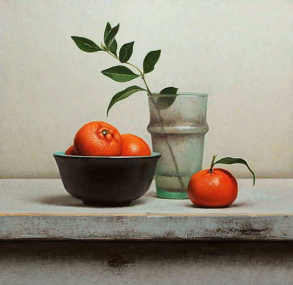 Painting: Stilleven mandarijnen