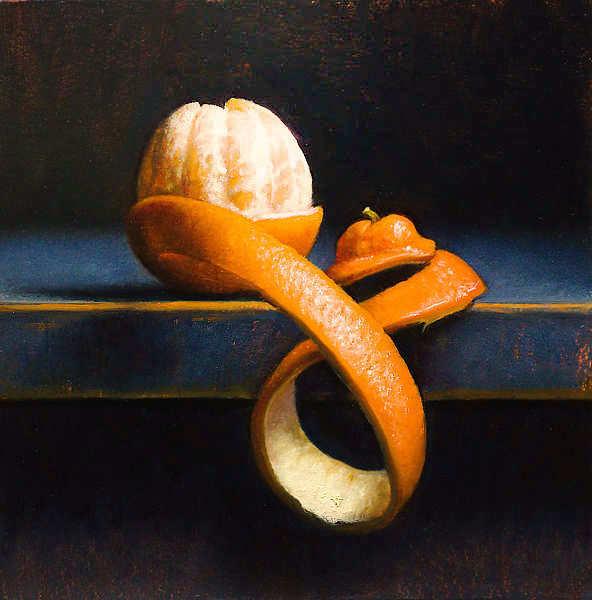 Painting: Stilleventje met mandarijn