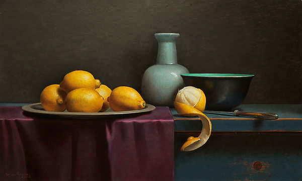 Painting: Stilleven met geschilde citroen