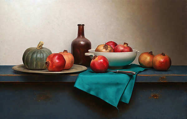 Painting: Stilleven met groen doekje