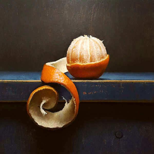Painting: Stilleven met mandarijntje