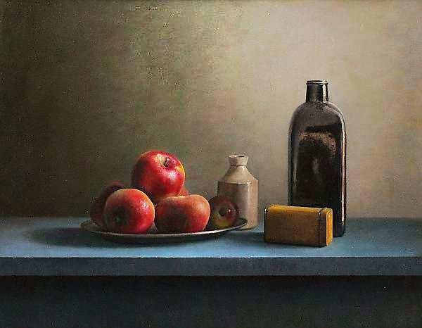 Painting: Stilleven met fles en rode appelen