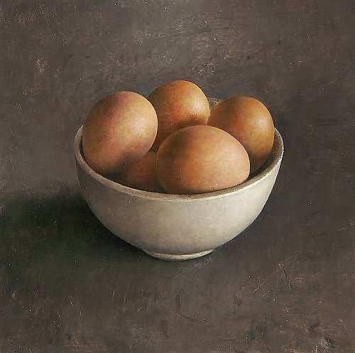 Painting: Stilleven met schaaltje met eieren