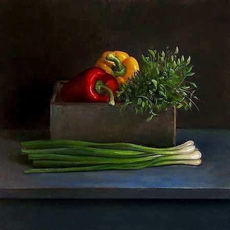 Painting: Stilleven met dille en paprika